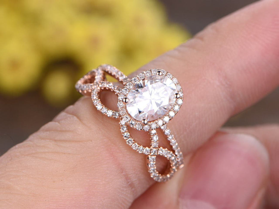 1.50 Carat Oval Cut infinity Moissanite and Diamond Wedding Set in Rose Gold