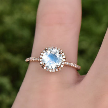 Cluster Pave 1.50 Carat Round Cut Blue Moonstone and Diamond Halo Engagement Ring in Rose Gold