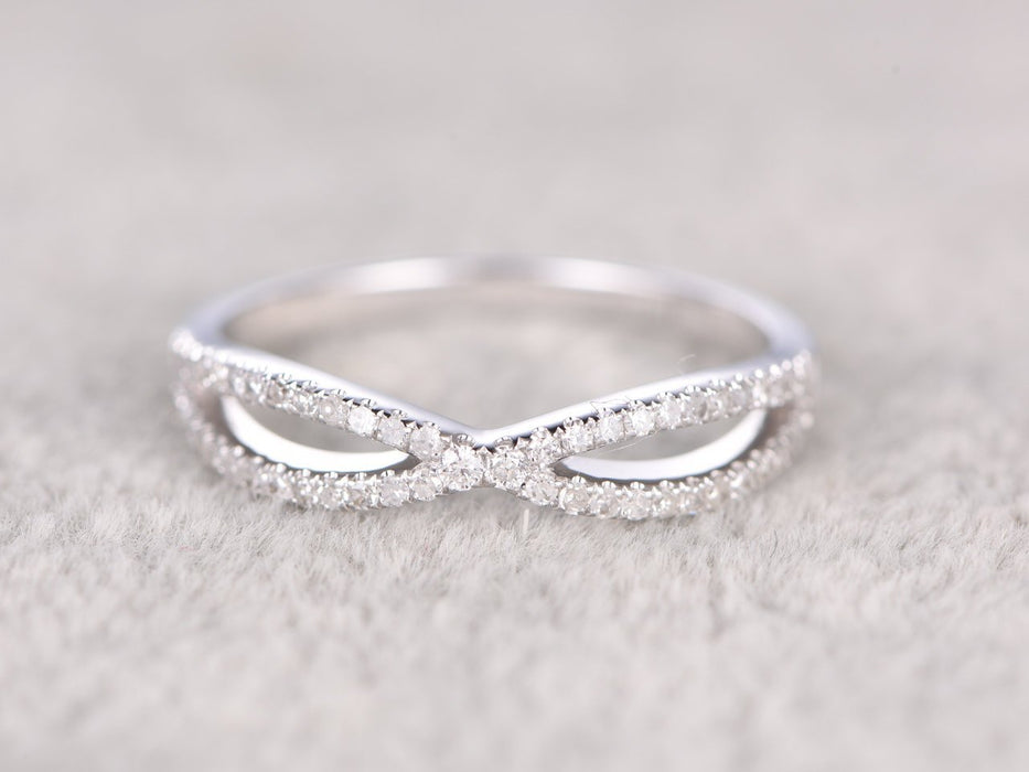 Infinity .50 Carat Round cut Diamond Wedding Ring Band in White Gold