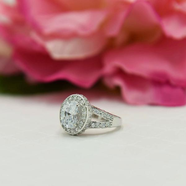 Final Sale: 3 Carat Oval Cut Halo Engagement Ring in White Gold over Sterling Silver