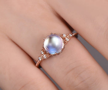 Vintage Milgrain 1.10 Carat Round Cabochon Cut Rainbow Moonstone and Diamond Engagement Ring in Rose Gold
