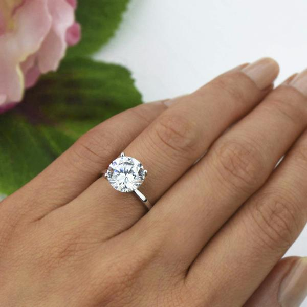 Final Sale: Classic 4 Carat Round Cut Solitaire Engagement Ring in White Gold over Sterling Silver