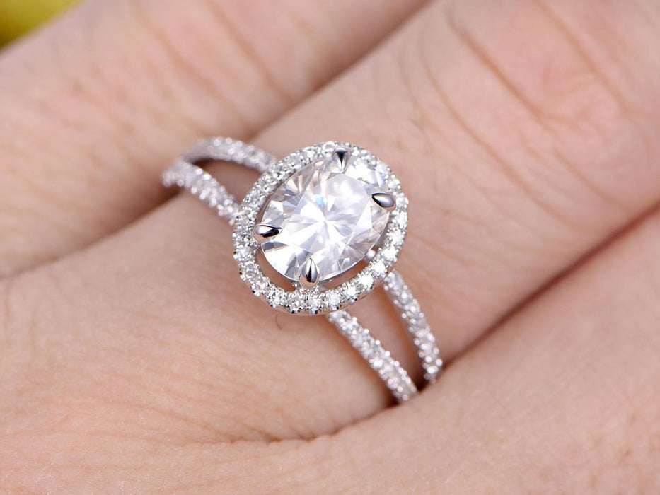 1.50 Carat Oval Cut Split Shank Moissanite and Diamond Wedding Ring in White Gold