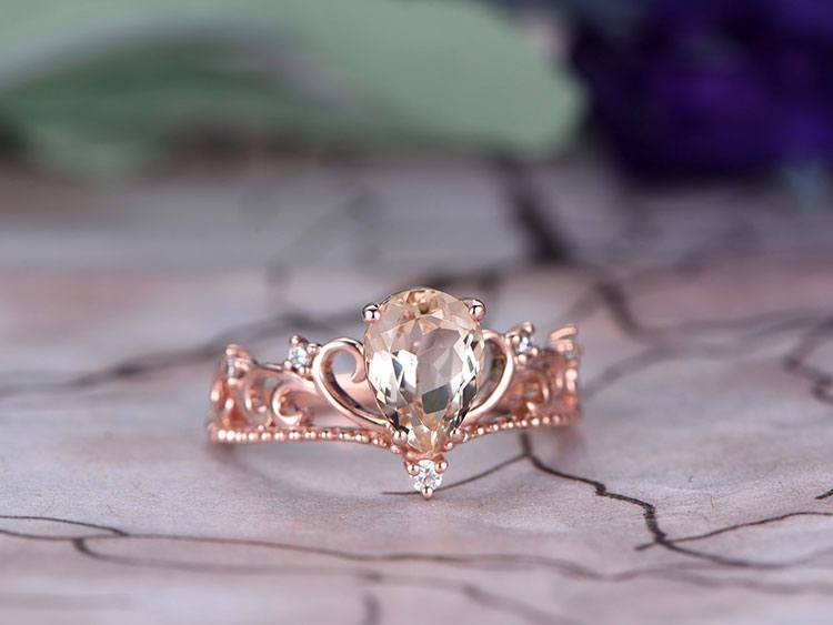 Crown Shape 1.25 Carat Morganite and Diamond Engagement Ring in Rose Gold