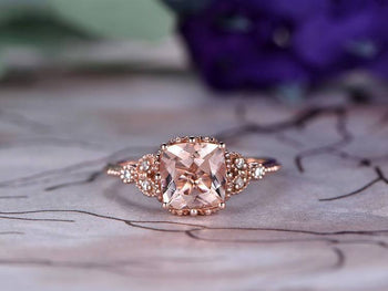 Antique 1.25 Carat Cushion Cut Morganite and Diamond Engagement Ring in Rose Gold