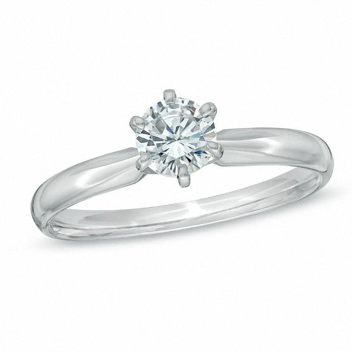 Classic 1/4 CT.T.W. Round Cut Diamond Six Prongs Engagement Ring in White Gold