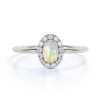 Classic Halo Set Oval Cut Opal and Diamond Stacking Ring in White Gold