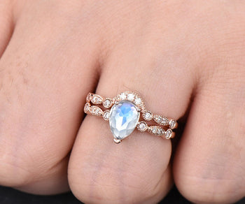 Classic Art Deco 2 Carat Pear Shape Rainbow Moonstone and Diamond Bridal Set in Rose Gold