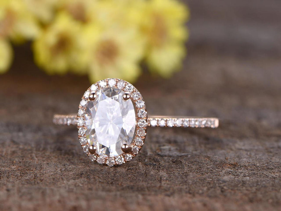 1.25 Carat Oval Cut Moissanite and Diamond Engagement Ring in Rose Gold