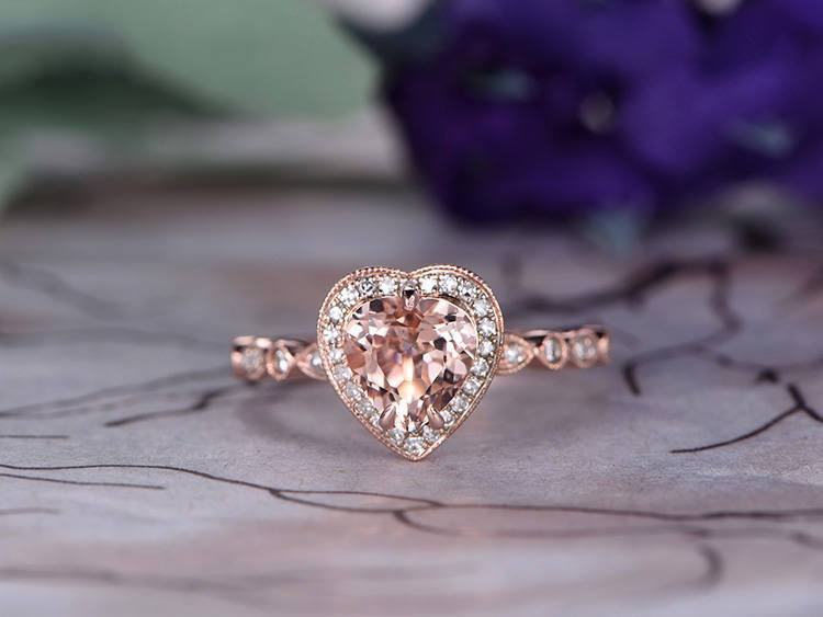Antique 1.25 Carat Heart Shape Morganite and Diamond Engagement Ring in Rose Gold
