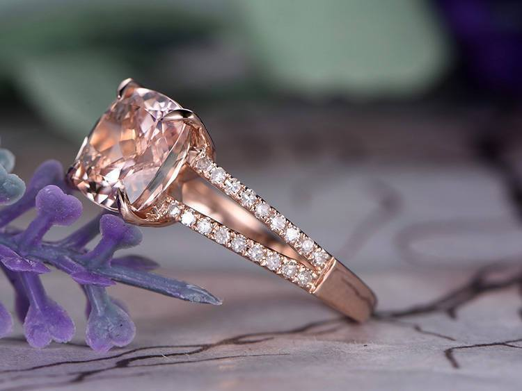 Perfect 1.50 Carat Cushion Cut Morganite and Diamond Split Shank Morganite and Diamond in Rose Gold