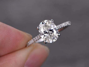 1.25 Carat Oval Cut Moissanite and Diamond Engagement Ring in 9k White Gold