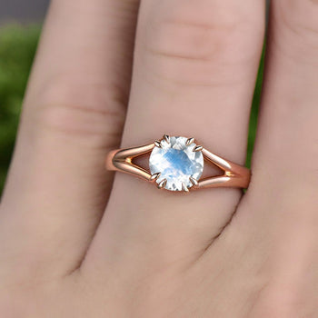 1 Carat Round Cut Blue Moonstone Split Shank Engagement Ring in Rose Gold