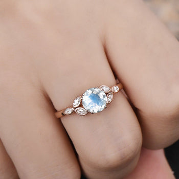 Leaf Design 1.25 Carat Round Cut Blue Moonstone and Diamond Vintage Engagement Ring in Rose Gold