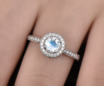 Channel Setting 1.50 Carat Round Cut Blue Moonstone and Diamond Halo Engagement Ring in White Gold