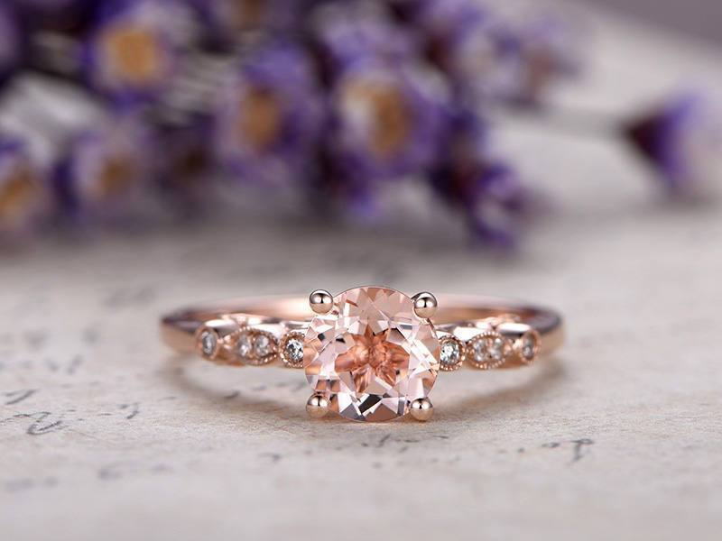 Unique 1.25 Carat Morganite and Diamond Engagement Ring in Rose Gold