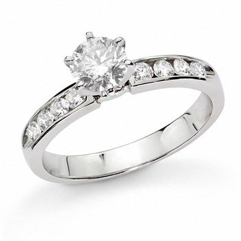 2/5 Carat Round Cut Diamond Engagement Ring in White Gold