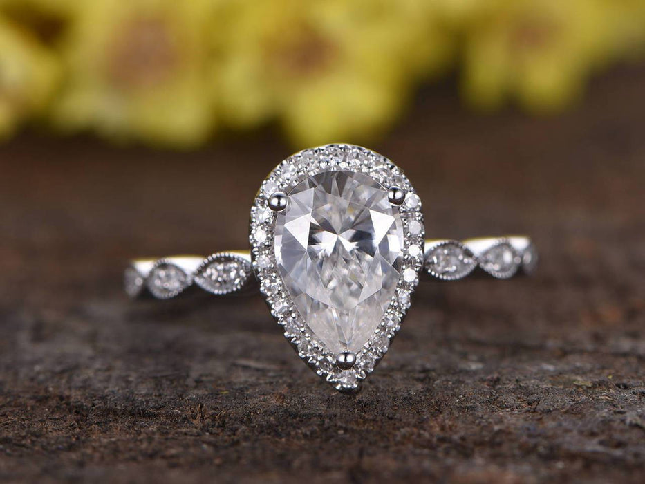 1.25 Carat Art Deco Pear Cut Moissanite and Diamond Engagement Ring in White Gold