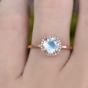 Classic 1.25 Carat Round Cut Blue Moonstone and Diamond Halo Engagement Ring in Rose Gold