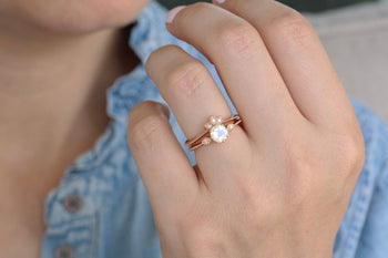 Antique 1.50 Carat Round Cut Rainbow Moonstone and Diamond Vintage Wedding Set with Crown Band in Rose Gold