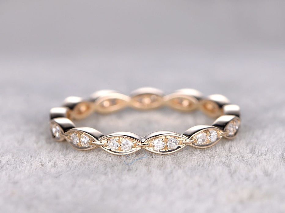 Eternity .50 Carat Round cut Diamond Wedding Ring Band Art deco design in Yellow Gold