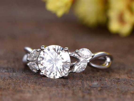 Antique Flower Design 1.25 Carat Round Cut Moissanite and Diamond Engagement Ring in White Gold