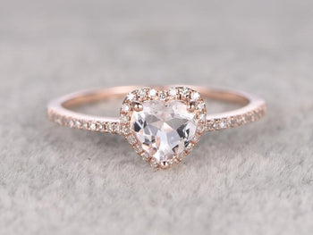 Perfect Heart Shape 1.50 Carat Morganite and Diamond Engagement Ring in Rose Gold