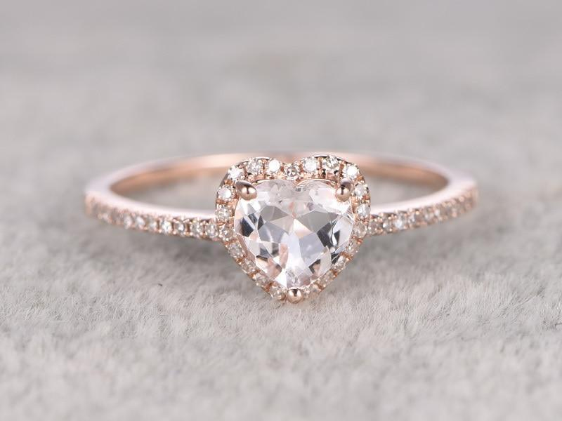 43955bba73909 Perfect Heart Shape 1.50 Carat Morganite and Diamond Engagement Ring in  Rose Gold