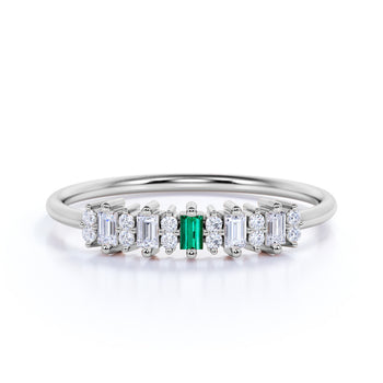 Elegant Emerald and Diamond Stacking Wedding Ring Band in White Gold