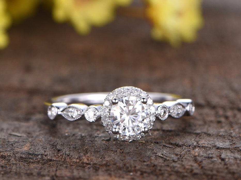 1.50 Carat Round Cut Moissanite and Diamond Engagement Ring for Her in White Gold