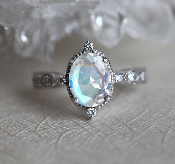 Art Deco 1.25 Carat Oval Cut Rainbow Moonstone and Diamond Vintage Engagement Ring in White Gold