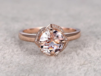 Flower Shaped 1.25 Carat Round Cut Solitaire Morganite Engagement Ring in Rose Gold