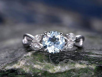 Five Stone Classic Leaves Round Cut Aquamarine and Diamond Engagement Ring in White Gold