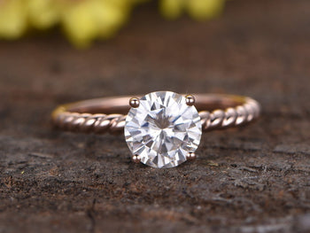 Huge 2 Carat Round Cut Moissanite Solitaire Engagement Ring in Rose Gold