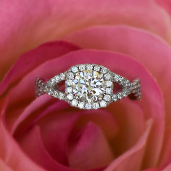 1.5 Carat Round Cut Twisted Halo Engagement Ring in White Gold Over Sterling Silver