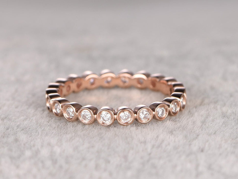 Eternity .50 Carat Round cut Diamond Wedding Ring Band Art deco design in Rose Gold