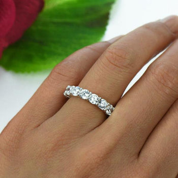 Huge 2 Carat Full Eternity Wedding Band in White Gold over Sterling Silver