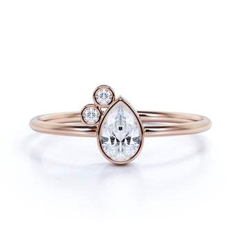 Stunning Pear Shape Diamond Stacking Ring in Rose Gold