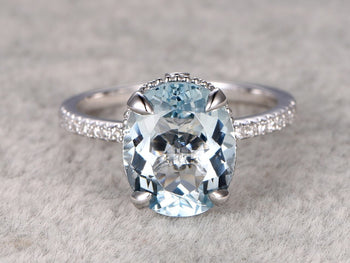 Antique 1.25 Carat Oval Cut Aquamarine and Diamond Engagement Ring in White Gold
