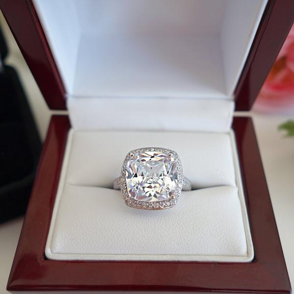 Final Sale 5 Carat Cushion Cut Halo Engagement Ring in White Gold over Sterling Silver