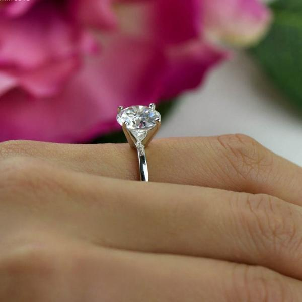 3 Carat Round Cut Four Prongs Solitaire Engagement Ring in White Gold Over Sterling Silve