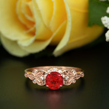 Glamorous 1.25 Carat Round Cut Ruby and Diamond Engagement Ring in 9k Rose Gold