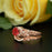 Glamorous 1.5 Carat Round Cut Ruby and Diamond Wedding Ring Set in 9k Rose Gold
