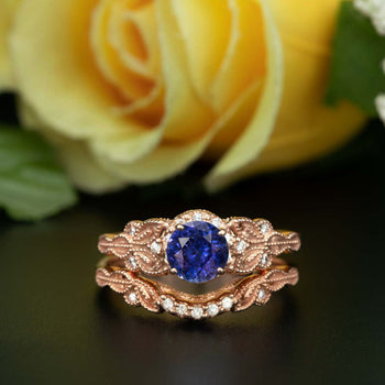 Glamorous 1.50 Carat Round Cut Sapphire and Diamond Wedding Ring Set in Rose Gold
