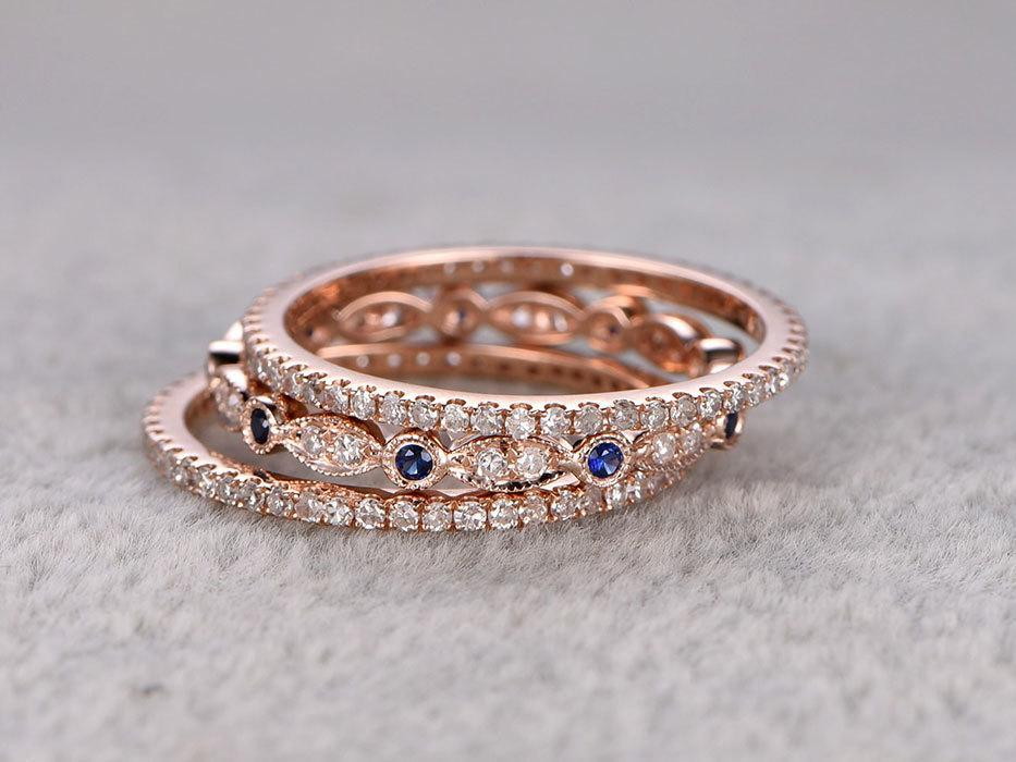 1 Carat Round cut Sapphire and Diamond trio Wedding Ring Bands in Rose Gold