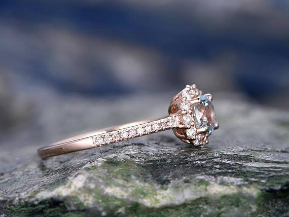 Bestselling 1.25 Carat Round Cut Aquamarine and Diamond Engagement Ring in Rose Gold