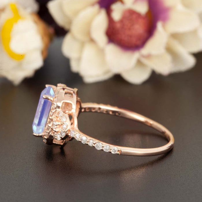 1.25 Carat Emerald Cut Sapphire and Diamond Engagement Ring in Rose Gold Dazzling Ring