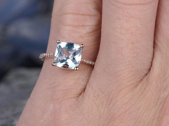Bestselling 1.25 Carat Princess Cut Aquamarine and Diamond Engagement Ring in Rose Gold