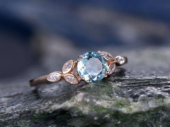 Antique Flower Design 1.25 Carat Round Cut Aquamarine and Diamond Engagement Ring in Rose Gold