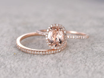 2 Carat Oval Cut Morganite and Diamond Halo Wedding Ring Set in Rose Gold